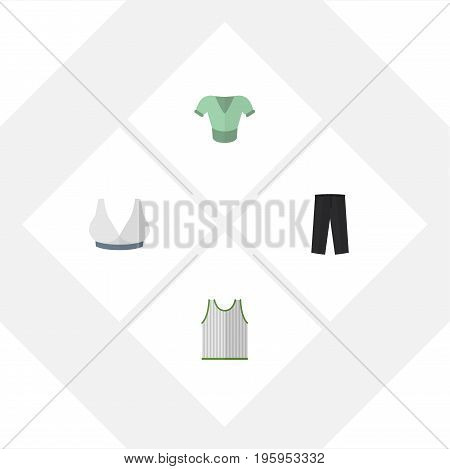 Flat Icon Clothes Set Of Brasserie, Casual, Pants And Other Vector Objects