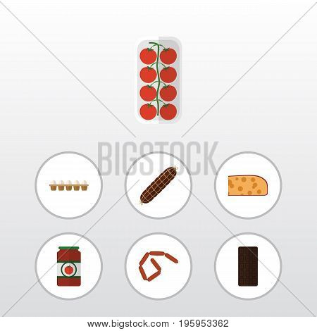 Flat Icon Meal Set Of Bratwurst, Eggshell Box, Ketchup And Other Vector Objects