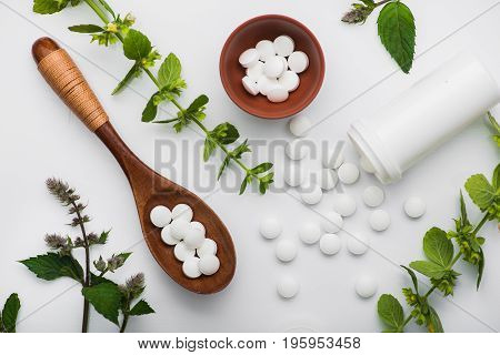 Organic Medical Pills With Herbal Plant