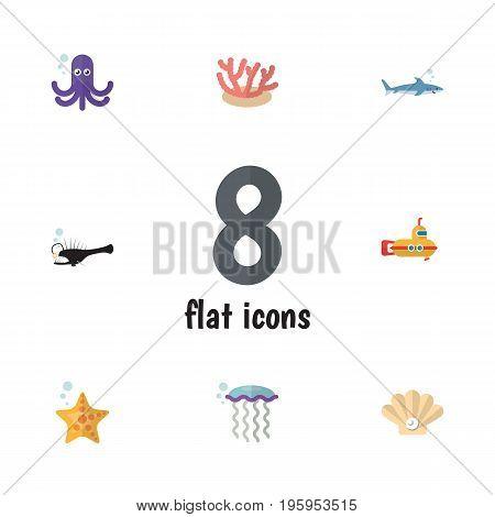 Flat Icon Marine Set Of Medusa, Shark, Fish And Other Vector Objects
