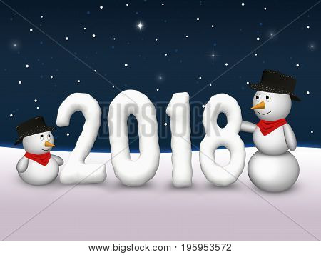 2 cute snowmen are looking to the snowy number of the year 2018.