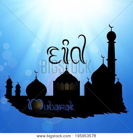 Eid Mubarak illustration: Black silhouette of a mosque on a blue sky with sun and sunrays, greetings and wishes for Eid.