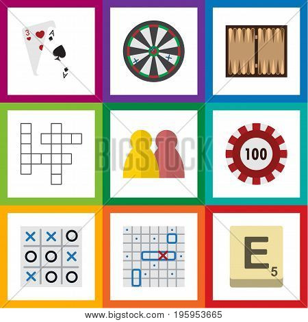 Flat Icon Play Set Of Mahjong, Guess, Poker And Other Vector Objects