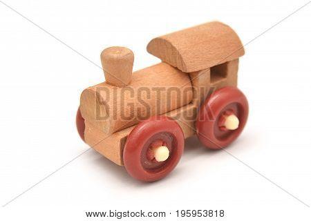 wooden toy locomotive isolated on white background