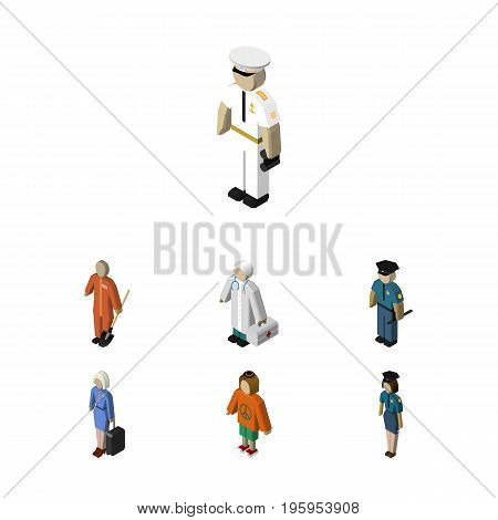 Isometric People Set Of Hostess, Seaman, Lady And Other Vector Objects