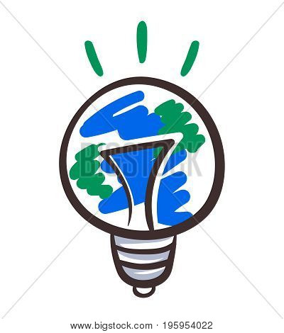 Sketchy Earth hour day logo. Globe shape light bulb planet care concept. Eco innovation symbol. Energy resources saving idea. Environment problem poster design. Ecology education project clip art.