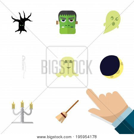 Flat Icon Celebrate Set Of Spirit, Terrible Halloween, Skeleton And Other Vector Objects