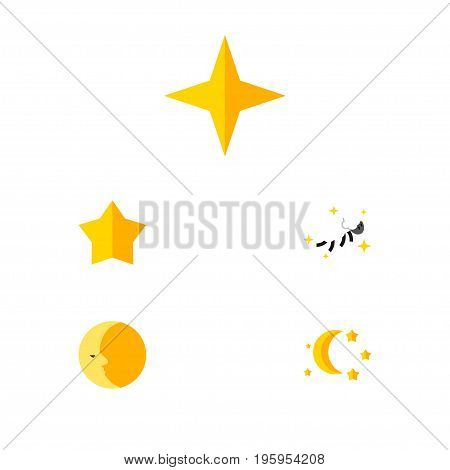 Flat Icon Night Set Of Bedtime, Night, Starlet And Other Vector Objects