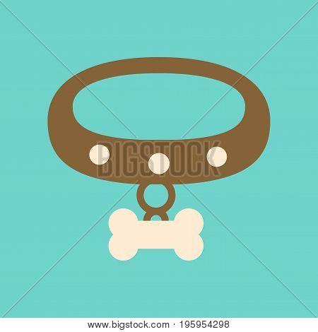 flat icon on stylish background dog collar