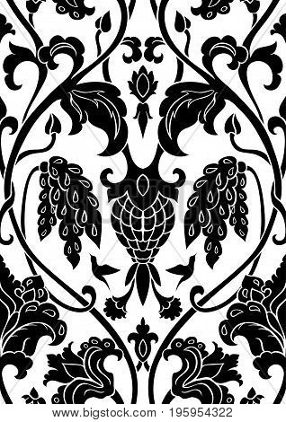 Black and white floral pattern. Seamless filigree ornament. Stylized template for wallpaper textile shawl carpet. Pattern with flowers and hummingbirds.