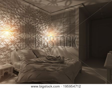 3d illustration bedroom interior design of a hotel room in a traditional Islamic style. Deluxe room background interior view decorated with arabian motifs. Render in white without textures