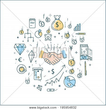 Vector flat linear bussines, finance, money concept in round composition