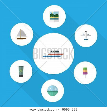 Flat Icon Season Set Of Boat, Yacht, Moisturizer And Other Vector Objects