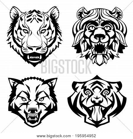 SET heads of wild animals vector graphics can be used as a tattoo or logo