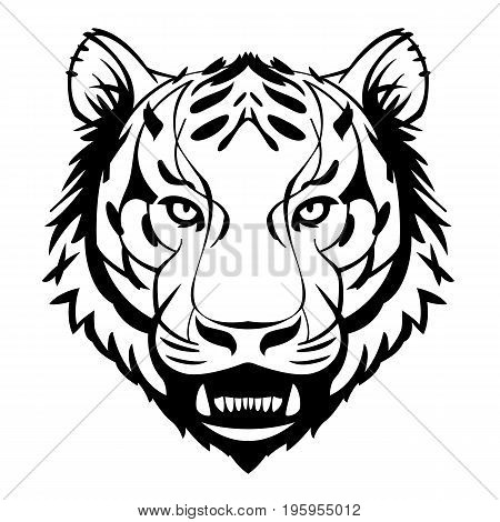 tiger head showing teeth vector suitable for tattoos or logos