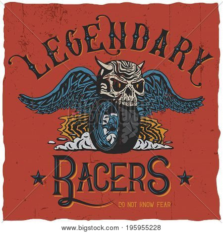 Legendary racers poster with words do not know fear vector illustration