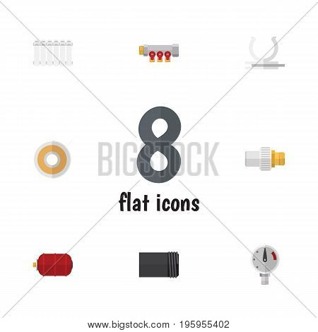 Flat Icon Sanitary Set Of Roll, Radiator, Container And Other Vector Objects