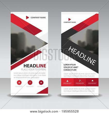 Red triangle Business Roll Up Banner flat design template Abstract Geometric banner template Vector illustration set abstract presentation brochure flyer template vertical vector