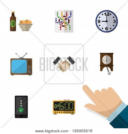 Flat Icon Oneday Set Of Beer With Chips, Partnership, Router And Other Vector Objects