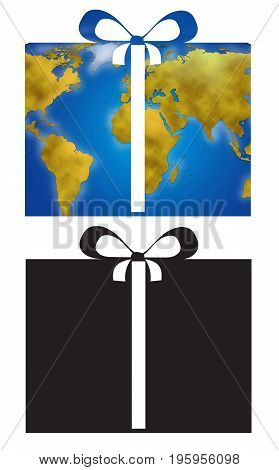 Present and ribbon with world planisphere digital illustration icons