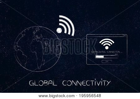 Earth With Wi-fi Symbok Next To Connection Pop-up