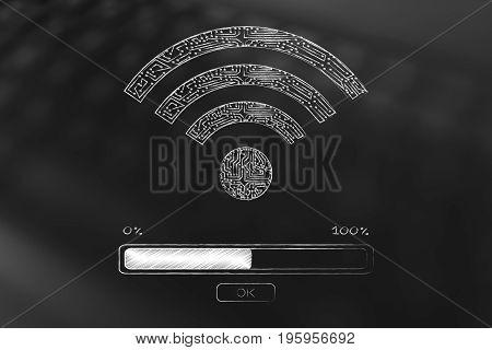 Microchip Wi-fi Symbol With Progress Bar Loading