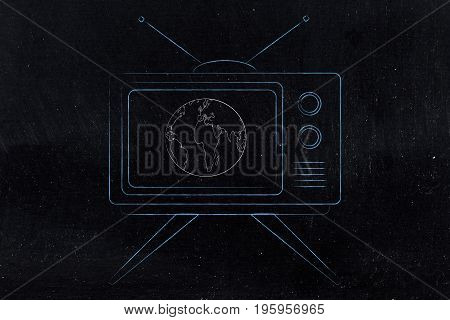 Television With World On The Screen