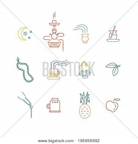 Set of hookah line icons isolated on white background. Smoke tobacco, smoking pipe, hookah, charcoal and accessories. Labels for shop or hookah lounge. Smoke illustration