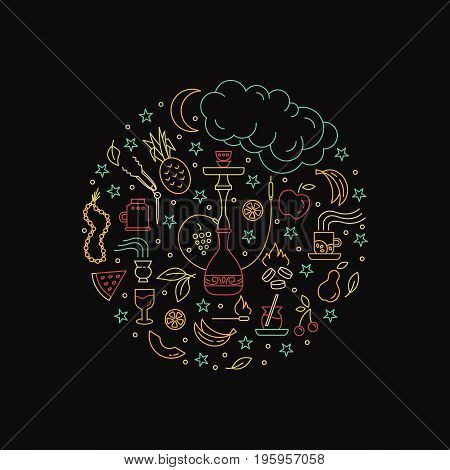 Vector circle concept with line icons isolated on  background. Hookah accessories, smoke, tobacco, fruits, hookah, charcoal. Label for shop or hookah lounge.