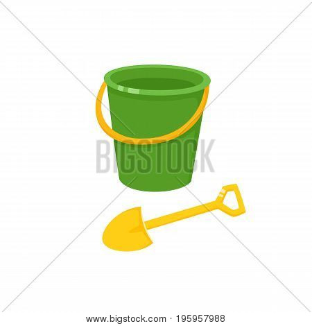 Vector baby bucket and sand shovel toy flat illustration. Child spade and pail, plastic playing tools colored isolated on a white background. Children education, growth and development concept.