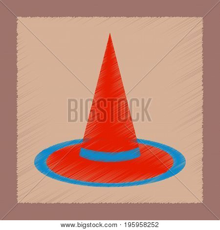 flat shading style icon of halloween witch hat