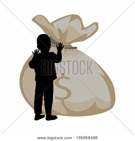 Baby Money Aids Concept. Silhouette