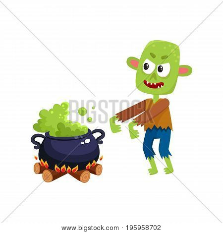 Scary green zombie monster and Halloween caldron with boiling potion, cartoon vector illustration isolated on a white background. Halloween monster, zombie and caldron with potion boiling on fire