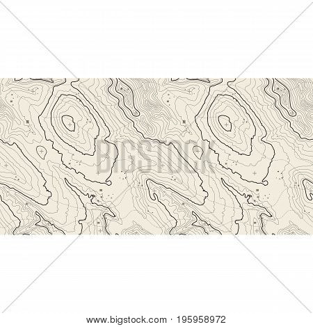 Seamless pattern. Topographic map background with space for copy Seamless texture. geographic grid abstract vector illustration . Mountain hiking trail terrain .