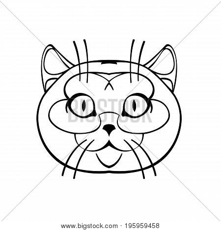 British Shorthair cute smiling watching us drawn black and white vector