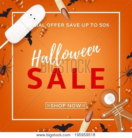 Orange background for halloween sale. Top view on paper bats, spiders and confetti. Vector illustration with cookies in form of skeleton gingerbread man. Special seasonal offer.