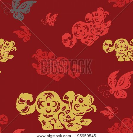 Traditional Paper Cut Out Of Chinese Dog Zodiac Sign.seamless Background .vector Hand Drawn Illustra