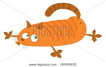 red cat lies on the belly - cartoon vector drawing