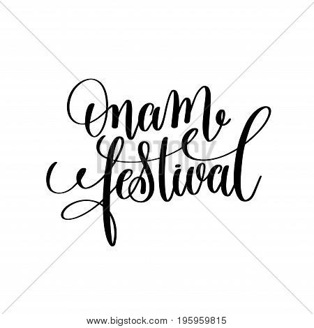 onam festival hand lettering calligraphy holiday quote to indian celebration design greeting card, poster, banner and other, vector illustration