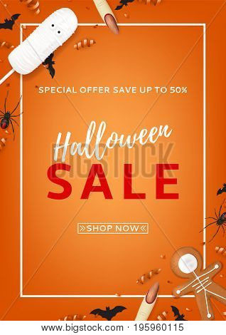 Orange flyer for halloween sale. Top view on paper bats, spiders and confetti. Vector illustration with cookies in form of skeleton gingerbread man. Special seasonal offer.