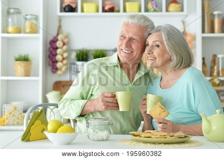 Happy senior couple drinking tea in kitchen