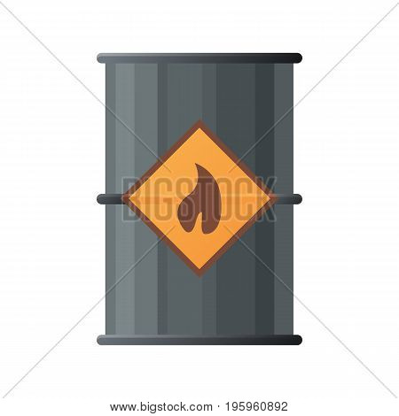 Black oil barrel icon. Flat illustration of black oil barrel vector icon for web isolated on white background