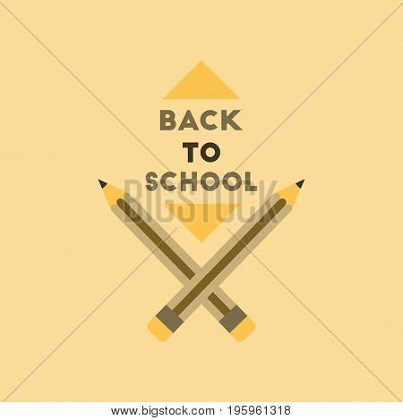 flat icon on stylish background Back to school pencil