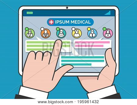 Tablet medical consulting and treatment concept. Telehealth or remote doctor and patient chat vector illustration