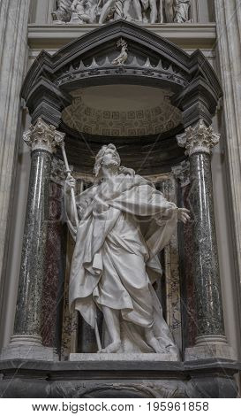 Marble statue disciple of Jesus the Apostle of St. James the Greater by Rusconi in Basilica di San Giovanni in Laterano (St. John Lateran basilica) in Rome. Rome Italy June 2017