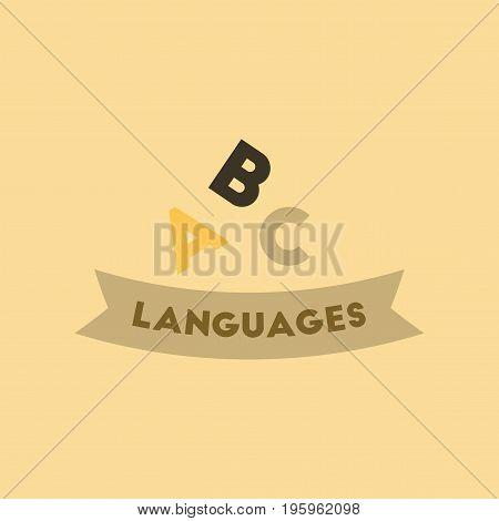 flat icon on stylish background letters languages
