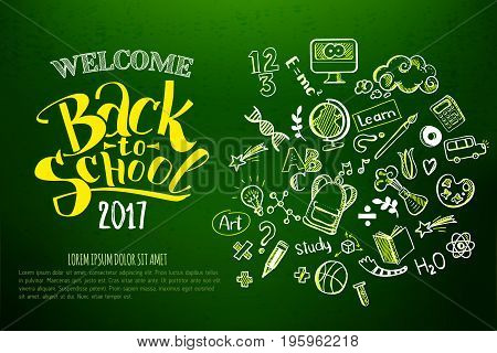 Back to school Horizontal green chalkboard with doodle supplies and lettering. Education background for web, brochures, banners. School typography and decor: globe, pen, bus, ball, palette, monitor