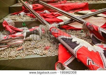 Trophies of the Second World War. Banners and crosses of Nazi Germany