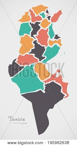 Tunisia Map With States And Modern Round Shapes
