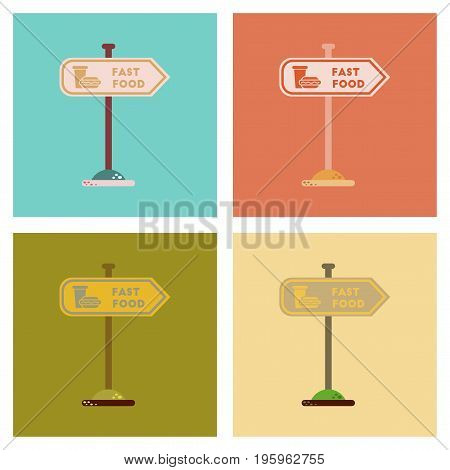assembly of flat icons fast food sign